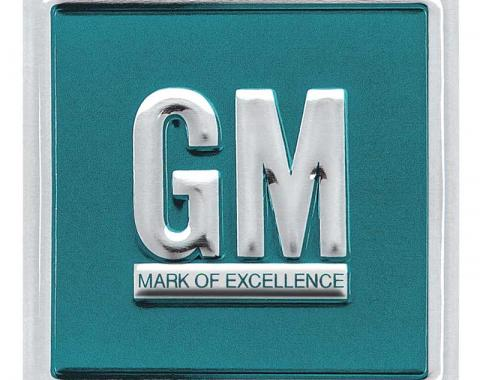 OER 1964-67 GM Mark Of Excellence Emblem Door Decal - Aqua Embossed PD8000