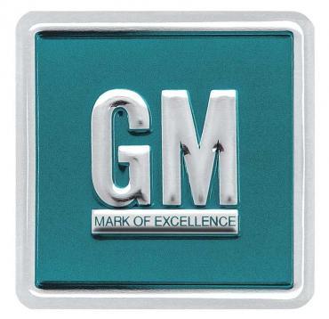 OER 1964-67 GM Mark Of Excellence Emblem Door Decal - Aqua Embossed PD8000