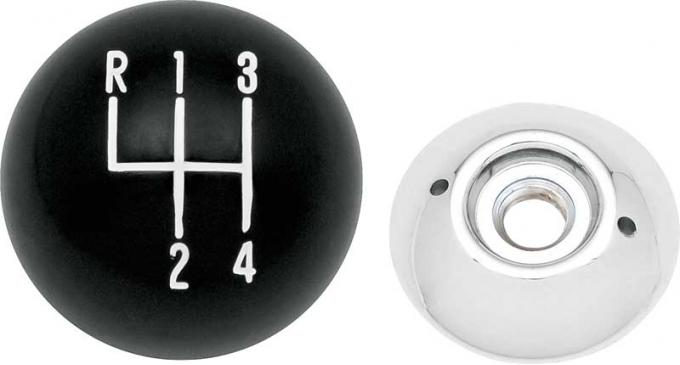 """OER Black 4-Speed Shift Knob with 3/8""""-16 Thread 3961437A"""