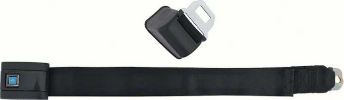 OER 1968-72 Front Bucket Seat Belt Assembly, RH, Standard, Silver Starburst Blue Button, Black Belt 154674