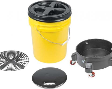 OER Grit Guard Deluxe Wash System 5 Gallon Yellow Pail with Black Lid - Dolly and Seat Cushion K89743