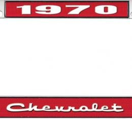 OER 1970 Chevrolet Style # 2 Red and Chrome License Plate Frame with White Lettering LF2237002C