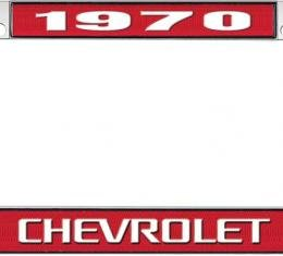 OER 1970 Chevrolet Red And Chrome License Plate Frame With White Lettering LF2237003C