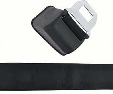 OER 1968-72 Front Bucket Seat Belt Assembly, RH, Standard, Silver Starburst Blue Button, Black Belt 154674