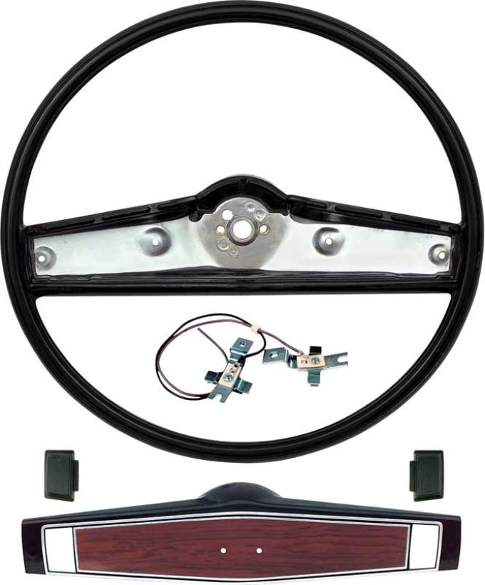 OER 1969-70 Steering Wheel Kit- Black - Cherrywood Shroud *R3493