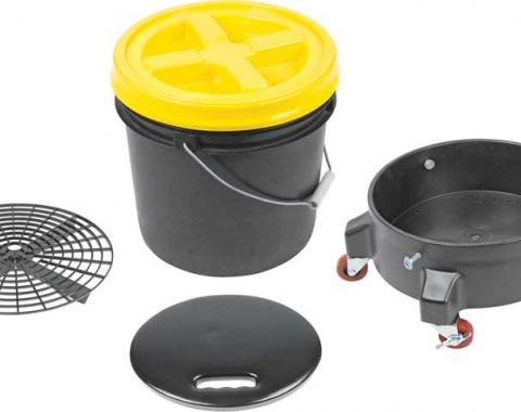OER Grit Guard Deluxe Wash System 3.5 Gallon Black Pail with Yellow Lid - Dolly and Seat Cushion K89742