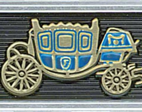 OER 1965-66 Fisher Coach Seat Belt Buckle Emblem - Standard Interior - Pair - Embossed CE150