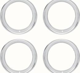 "OER 15"" Stainless Steel 3"" Deep Rally Wheel Trim Ring Set 9796696"