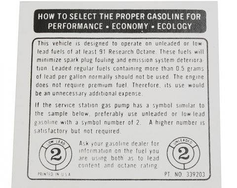 Corvette Decal, Fuel Recommendations, 1973-1974
