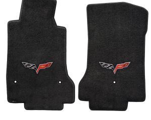 Corvette Floor Mats, 2 Piece Lloyd® Ultimat™, with C6 Logo, Ebony, 2013.5